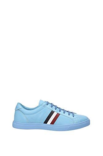 Sneakers Moncler Uomo Pelle Blu Chiaro, Blu Scuro, Bianco e Rosso B109A101270007903717 Blu 44EU