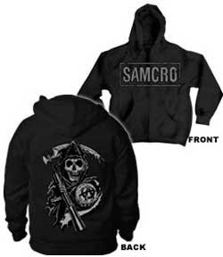 Sons of Anarchy Samcro Boxed Reaper Black Adult Hoodie Hooded Sweatshirt (Adult Medium)