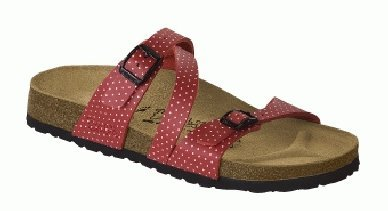 Cheap Birkis slippers Salina in size 36.0 N EU made of Birko-Flor in Cherry Mini Points White with a narrow insole (B0051197NY)