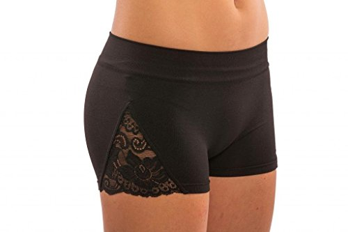 Lizatards Stretch Shorts With Lace Inset - Junior Osfm front-986867