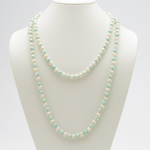 Lux White and Blue Cultured Freshwater Pearl Necklace