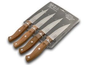 Hen & Rooster And International 4 Piece Wooden Jumbo Steak Knife Knives Set