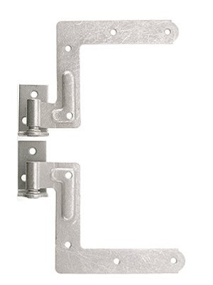 """Pair of Galvanized Steel L-Shaped Shutter Hinges With 1 1/16"""" Offset"""