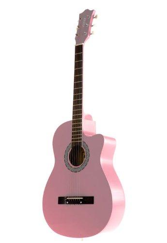 Fever Fv-030C-Pk 3/4 38-Inch Acoustic Cutaway Guitar, Pink