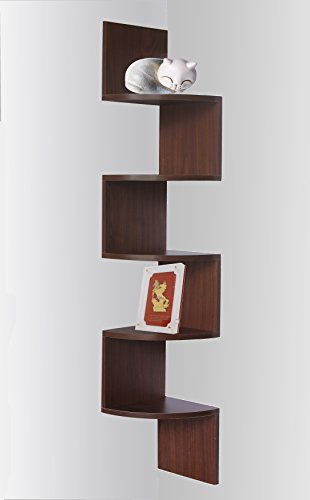 White Finish Wood Wall Corner 5 Tier Bookshelf Bookcase