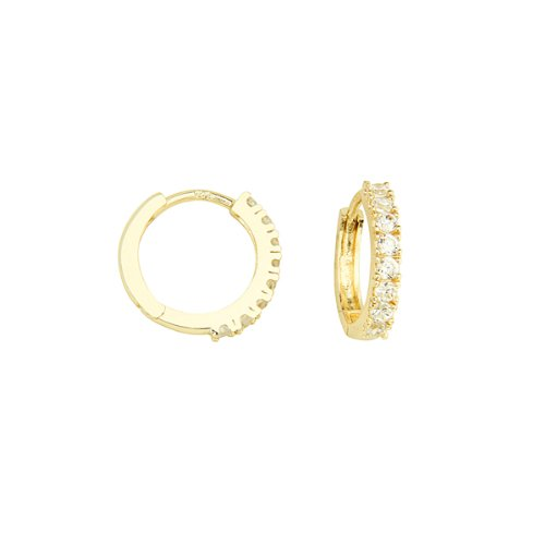 14.3mm Yellow Gold Plated Brass Cubic Zirconia Huggie Hoop Earrings for Children & Women
