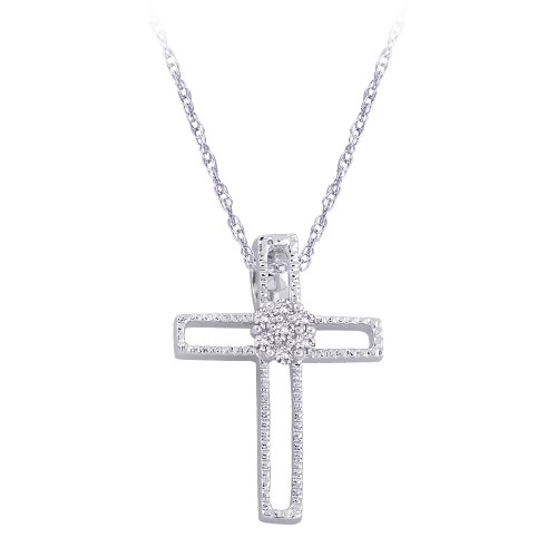 Sterling Silver 0.04 ct. Diamond Cross Pendant with Chain