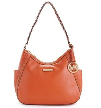 Michael Kors Whipped Medium Top Zip Shoulder Hobo Bag Purse Burnt Orange