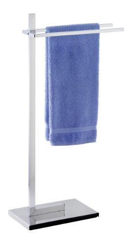 WENKO 17108100 Piantana porta salviette Quadro - 2 aste, tubo squadrato, Acciaio, 41 x 85.5 x 20 cm, Cromo