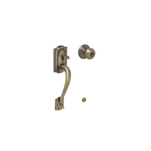Schlage Fe285-Cam-Geo Camelot Lower Handleset Featuring The Georgian Knob For Us, Antique Brass