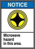 "Notice Microwave Hazard In This Area. (W/Graphic) 14"" X 10"" Dura-Plastic Sign"