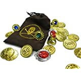 Pirate Coins & Jewellery In Pouch Treasure