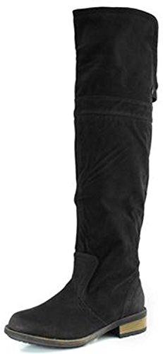 Women'S Two Way Fold Down Knee High Cowboy Textured Vegan Boots, 8