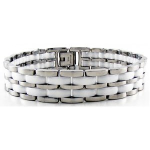 "White Ceramic Couture And Stainless Steel Link Bracelet 7.5"" front-586748"
