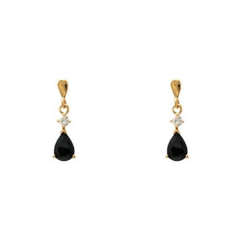 Simply Glamorous Jewellery And Gifts Shop - 18ct Gold Filled Tear Drop Earrings Black Onyx Cubic Zirconia