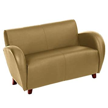 Faux Leather Contemporary Reception Loveseat