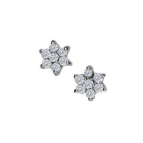 April Birthstone Cubic Zirconia 7 Stone Cluster Earrings In 925 Sterling Silver - B00UEUSGEI