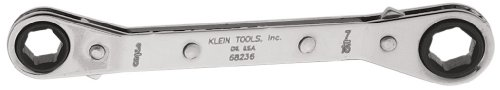 Klein Tools 68236 3/8-Inch By 7/16-Inch Fully Reversible Ratcheting Offset Box Wrench