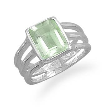 Sterling Silver Green Amethyst Triple Thin Band Ring / Size 8