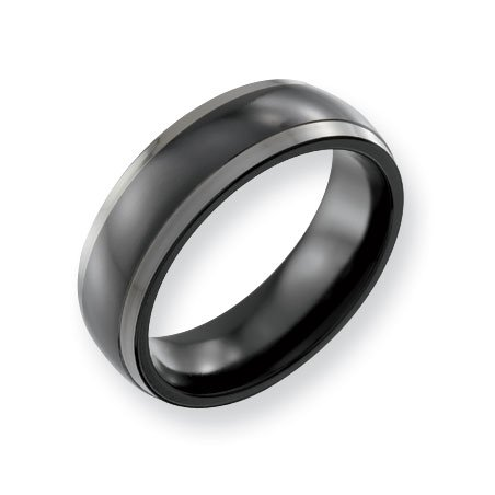 Titanium Two-tone 7mm Polished Band Ring - Size 12.5 - JewelryWeb