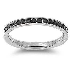 Stainless Steel Eternity Black Cz Wedding Band Ring 3mm (3,4,5,6,7,8,9,10,); Comes with Free Gift Box (5)
