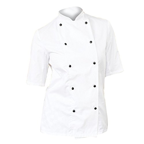 dennys-womens-ladies-lightweight-short-sleeve-chefs-jacket-chefswear-m-white