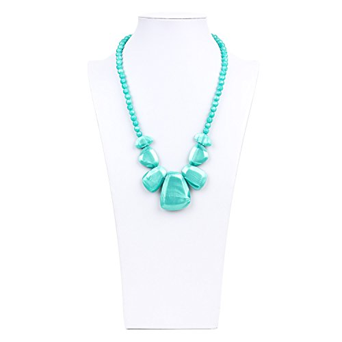 Bumkins Nixi Rocca Silicone Teething Necklace, Aquamarine