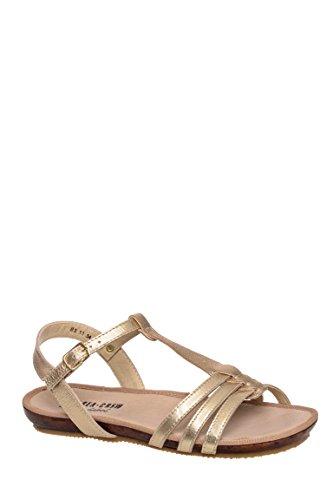 Caramel T-Strap Flat Sandal