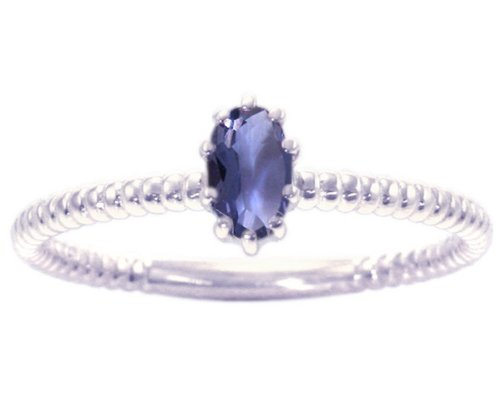 14K White Gold Petite Oval Gemstone Solitaire Stackable Ring-Iolite, size8.5