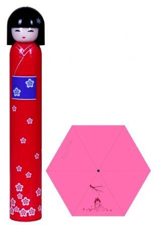 cute pink Japanese girl doll umbrella,bottle umbrella