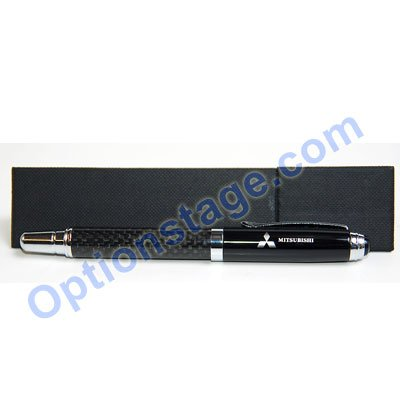 Mitsubishi Logo Real Carbon Fiber Official Licensed Roller Ball Pen with Detachable Cap (Black Ink)