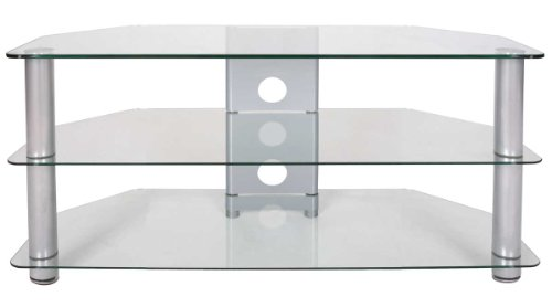 Tru-vue Medium Clear Glass Corner Tv Stand For Up To 47 Inch Tvs
