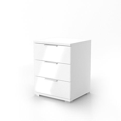Nachtschrank-Kommode-Nachttisch-Schrank-Schublade-Ablage-Schlafzimmer-Florenz-Wei-Hochglanz