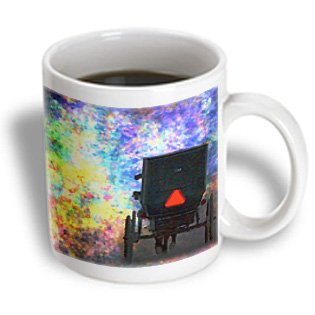 Mug_178087_1 Cassie Peters Digital Art - Amish Buggy Bold Colored Background By Angelandspot - Mugs - 11Oz Mug