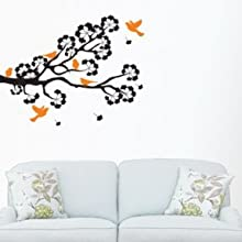 "Happinesss - Birds On A Branch Wall Decal (Black), Self Adhesive Vinyl (36"" X 24"" (approx), Black And Orange)"