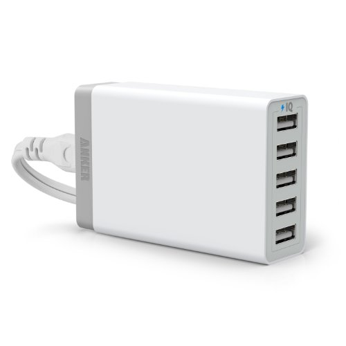 Anker® 40W 5-Port Family-Sized Desktop USB Charger with PowerIQ™ Technology for iPhone 5s 5c 5; iPad Air mini; Galaxy S5 S4; Note 3 2; the new HTC One (M8); Nexus and More (White)