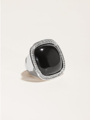 GUESS Black Rectangle Stretch Ring