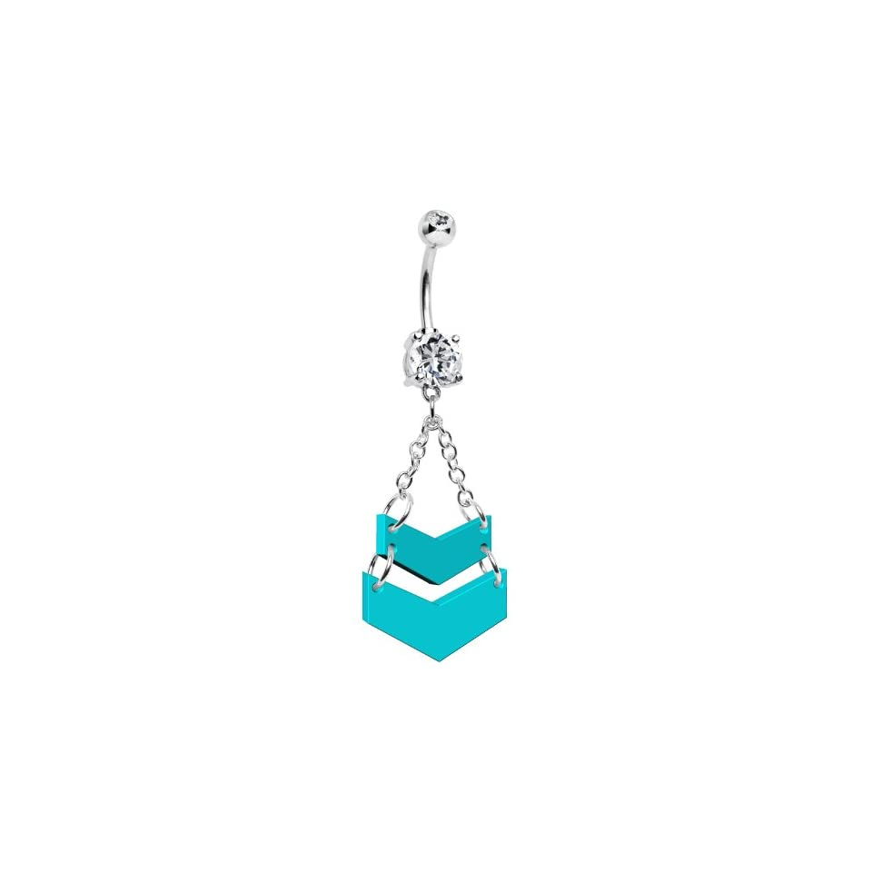 Turquoise Acrylic Ascending Chevrons Belly Ring Body Candy Jewelry