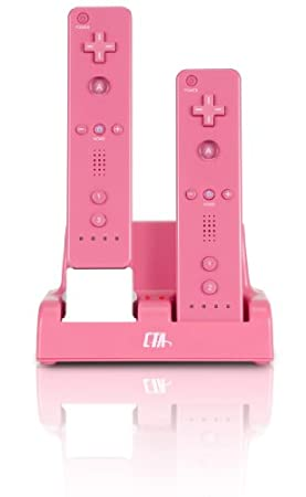 Double Charge Station with AC Adapter for Wii Remote - Pink