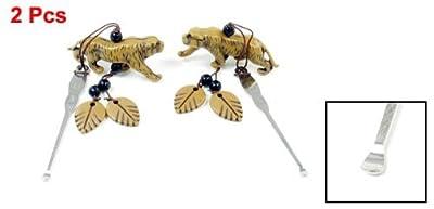 Miki&Co 2 Pcs Portable Brown Tiger Pendant Silver Tone Ear Pick Earwax Removal