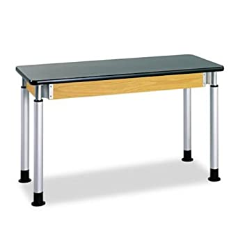 "Diversified Woodcraft P8202K UV Finish Plain Adjustable Height Table with Chemguard Top, 54"" Width x 39"" Height x 24"" Depth"