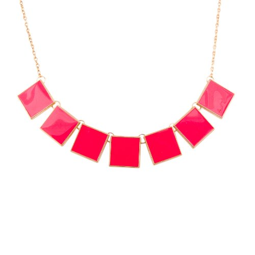 Habors Neon Pink Goemetric Short Necklace for Women (multicolor)