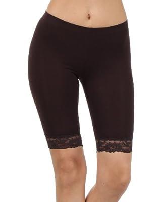 Sakkas Cotton Lycra Blend Lace Trim Stretch Bike Shorts - Made in USA