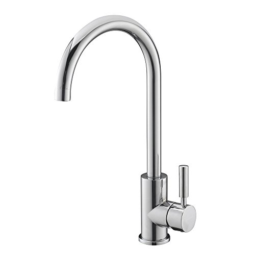 VAPSINT New Arrivel Stainless Steel One Hole Chrome Single Lever Kitchen Sink Faucets, Good Value Chrome Kitchen Faucet (Sink Faucet One Hole compare prices)