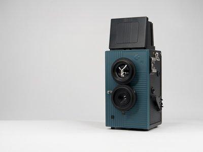 Merle Fly TLR double objectif 35 mm pour appareil photo Reflex-Noir/Bleu-Face pour appareil photo