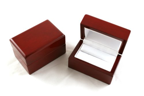 Glossy Rosewood Veneer Wooden Double Ring Box (BDR5)