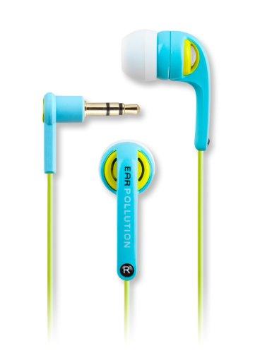 Earpollution Evolution Earbuds - Light Blue/Yellow/Green