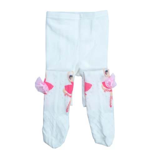 BHL Girls Kid Dance Tights 3-10Y Footed (5-6Y, White)