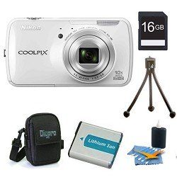 Nikon COOLPIX S800c 16MP 3.5 inch LED White Digital Camera Kit