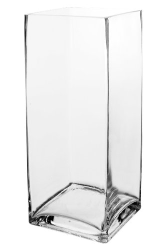 Koyal Wholesale 404348 12-Pack Tall Square Glass Vases, 4 By 12-Inch